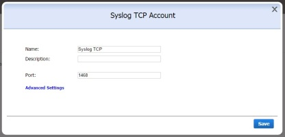 SysLog TCP account window small