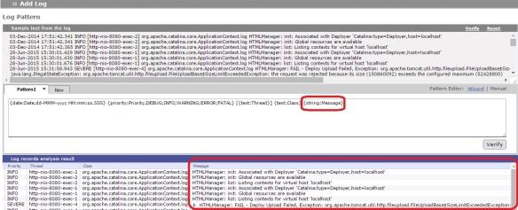 log4j admin 1 message before regular expression