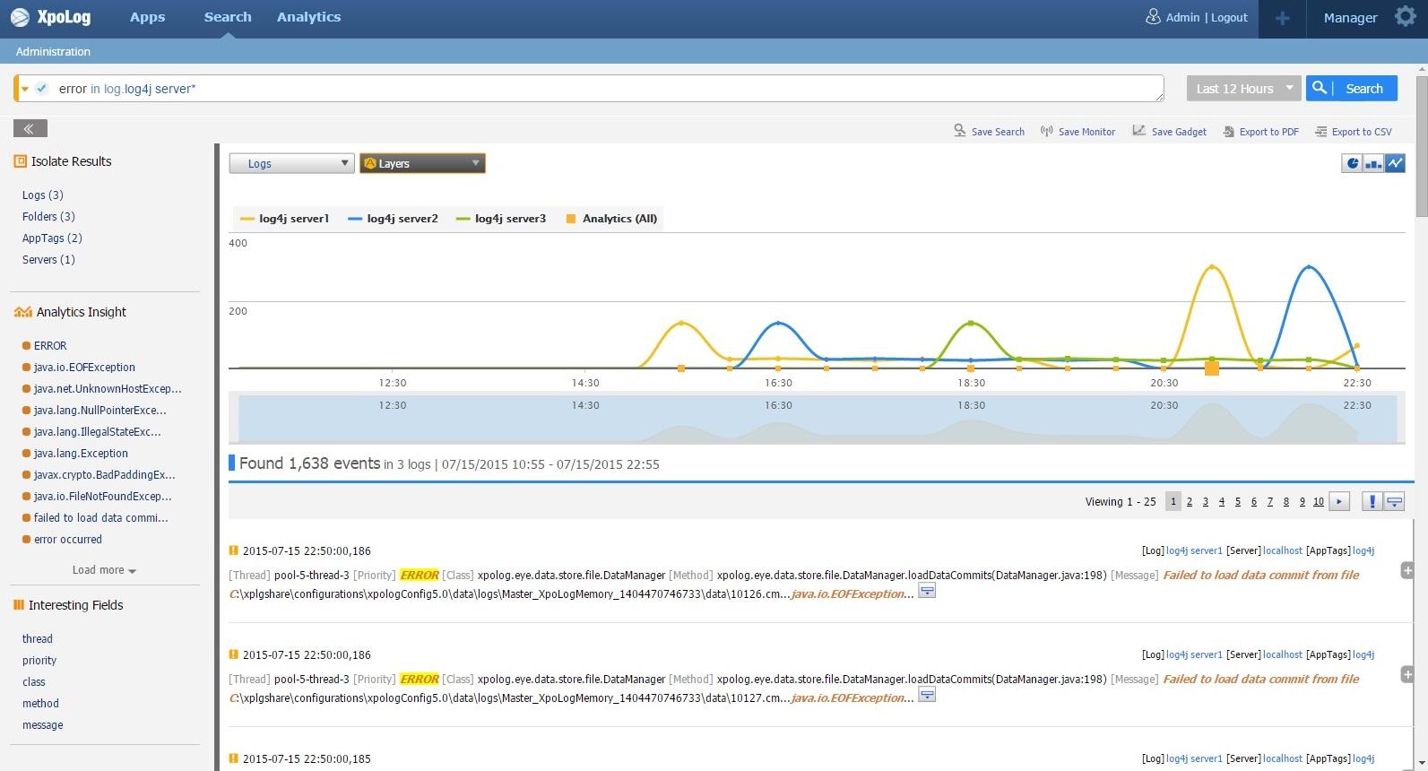 Log4j xpolog log data analytic search for it devops apm log4j post 4 ex1b search error in all log log4jservers fixed baditri Image collections