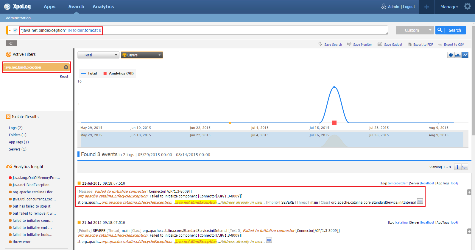 Log4j xpolog log data analytic search for it devops apm search bind exception baditri Image collections